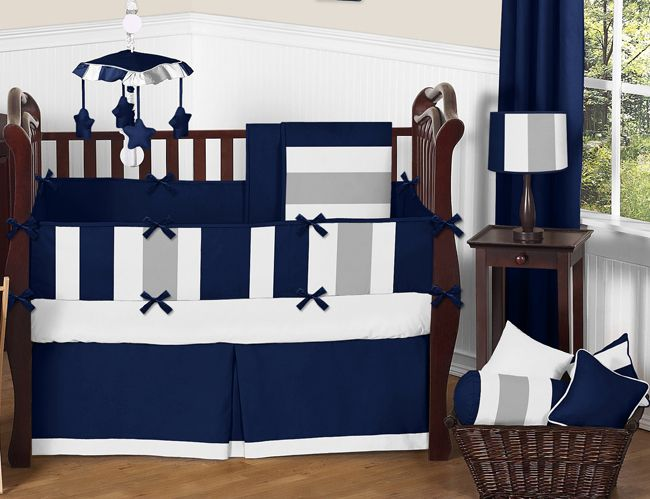 White Navy Blue And Gray Stripe Baby Bedding 9 Piece Crib Set Blue Crib Bedding Baby Boy Bedding Sets Crib Bedding Boy