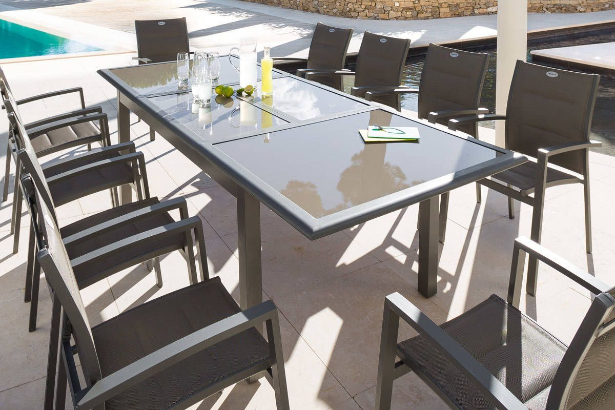 Table extensible Azua verre taupe mastic 10 places ...
