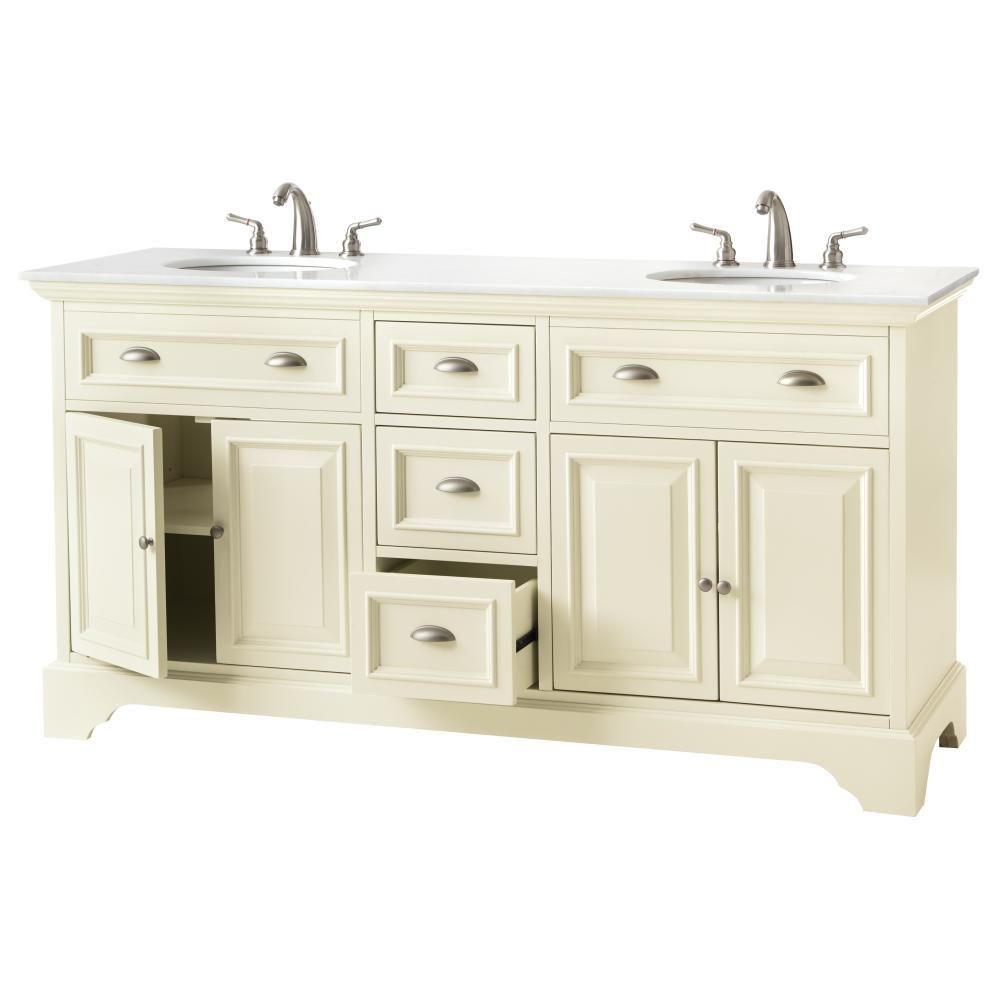 Home Decorators Collection Sa 67 In Double Vanity Matte Pearl With Marble Top Natural White Basin