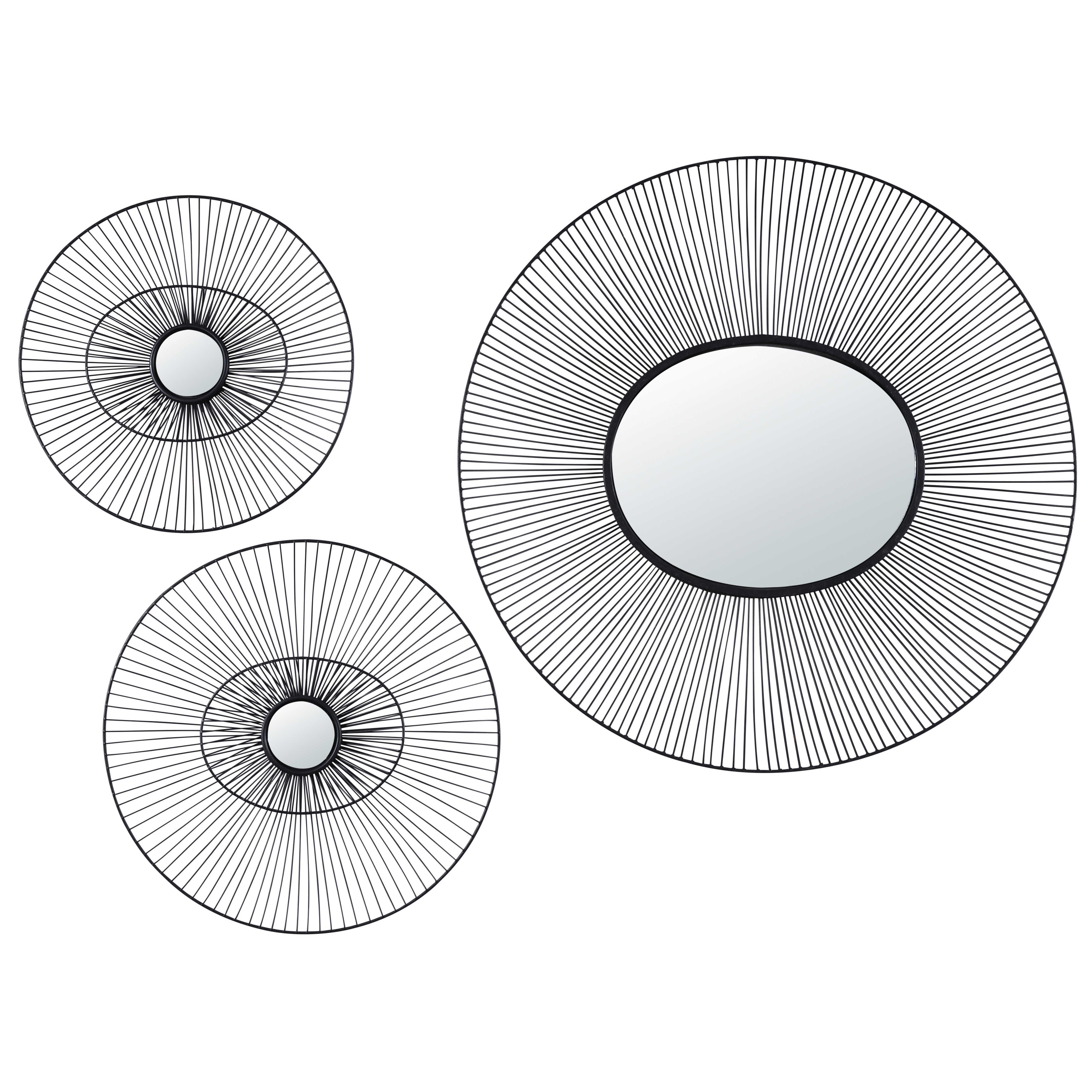 3 miroirs ronds en fil de m tal noir o b j e c t s d e c. Black Bedroom Furniture Sets. Home Design Ideas