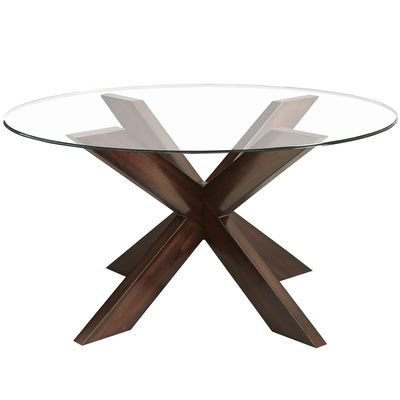 Pier 1 Imports, Simon X Coffee Table Base With Round Glass Top In Espresso,  2722743