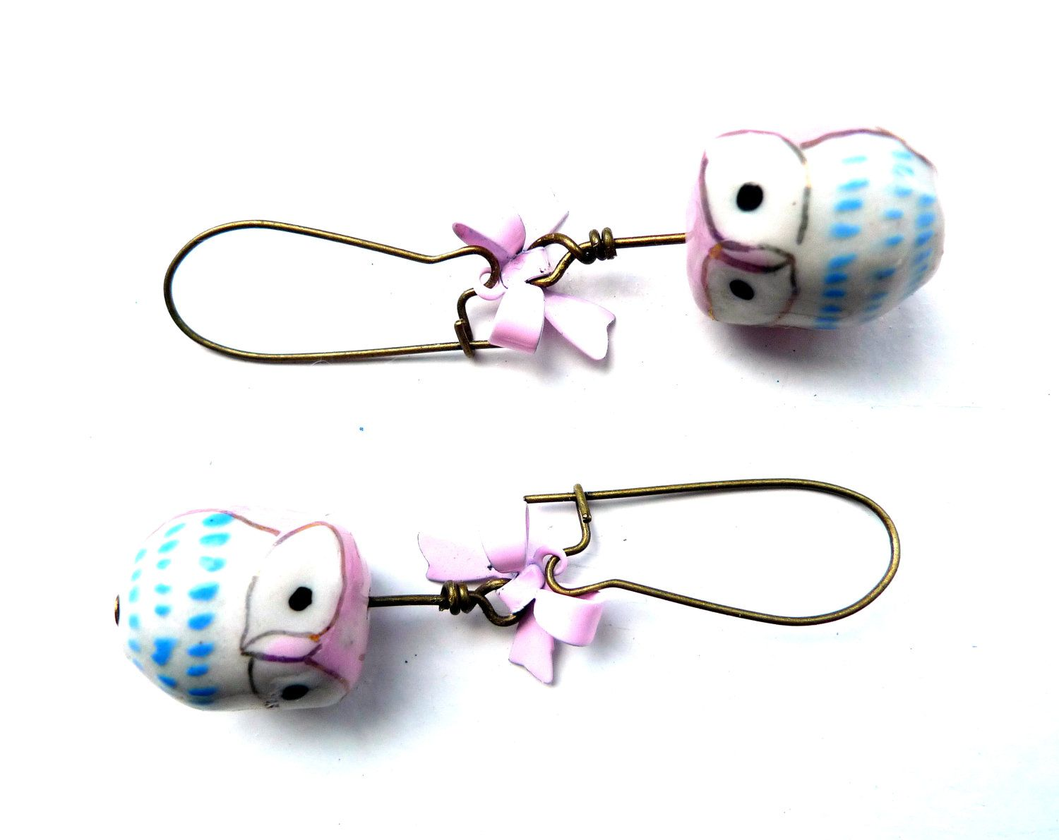 Pink+Owl+Earrings++Kawaii+Jewelry+Hand+Painted+by+QuirksAndCrafts,+$26.00