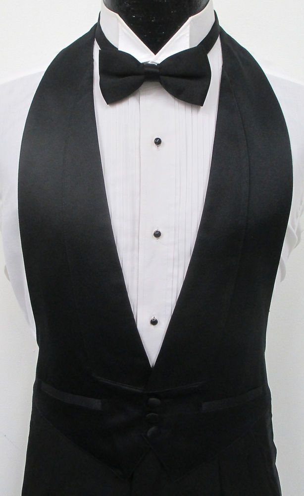 5bb7ba083e2 Black Satin Open Back Tuxedo Vest & Bow Tie Wedding Prom Formal Mason  Costume