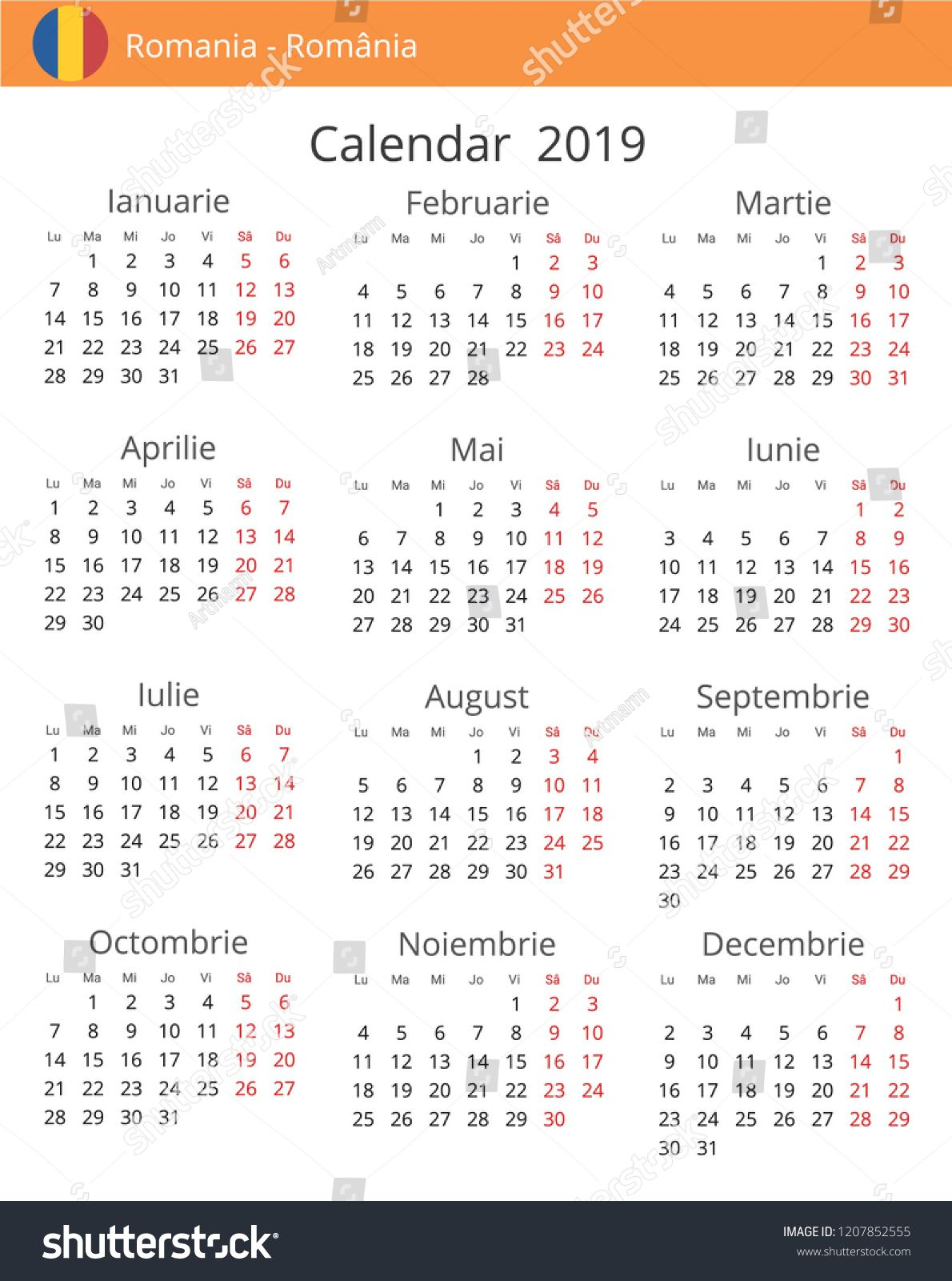 Calendar 2019 year for Romania country. Romanian language