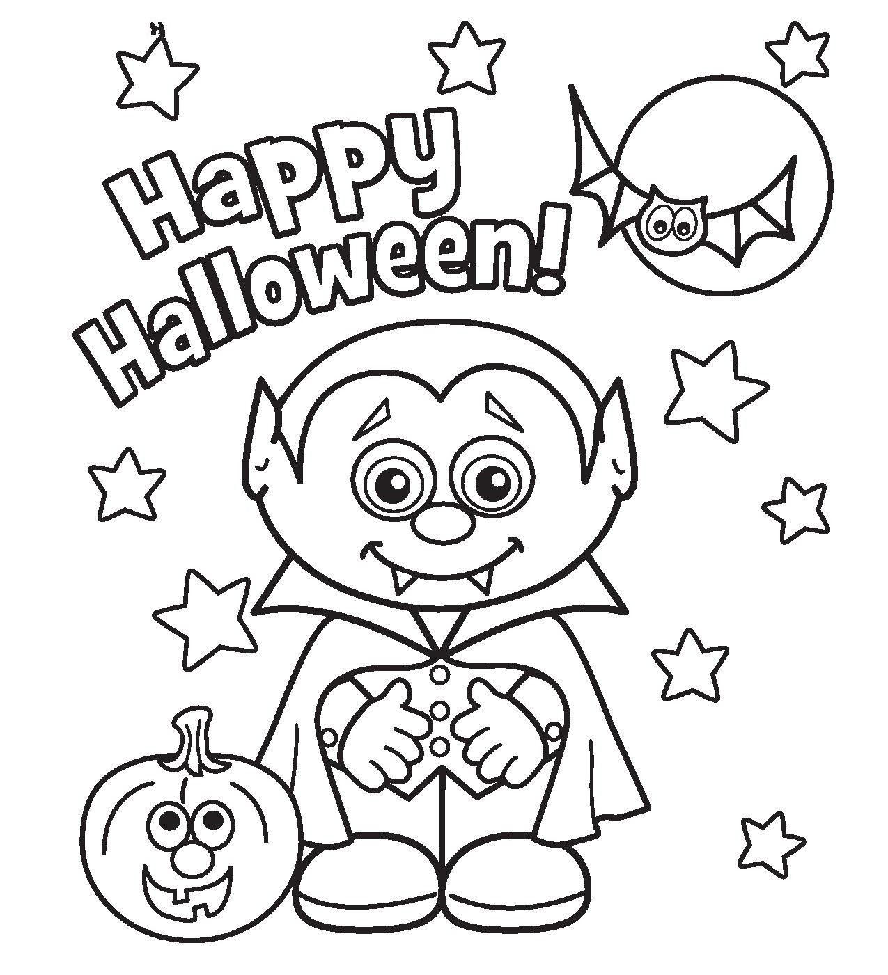 Coloring Pages Halloween With Print Little Vampire Printabel