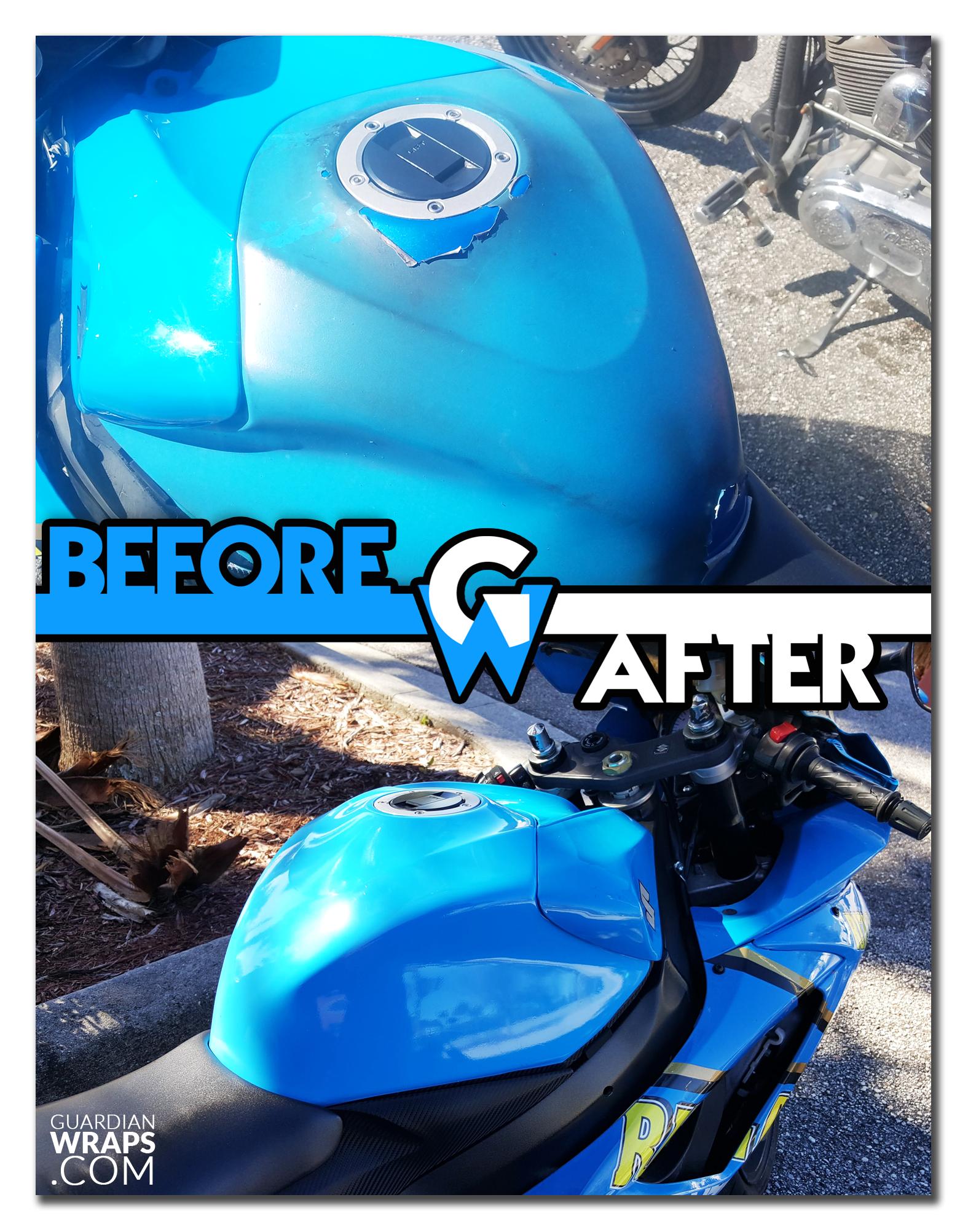 Suzuki gsxr 750 light blue gloss tank vinyl wrap