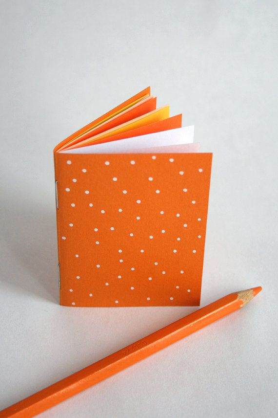 Orange and white polka dots - tiny illustrated notebook - fits in your hand
