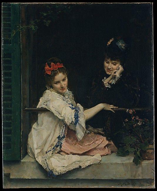 """Girls at a Window"" by Raimundo de Madrazo y Garreta (1875) at the Metropolitan Museum of Art, New York"