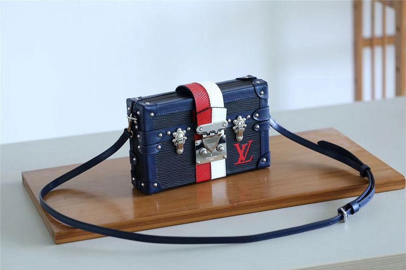 0c299ae2cef4 M52108 Louis Vuitton Fall-Winter 2018 Petite Malle-Black With its red and  white stripes inspired by Louis Vuitton s iconic personalized trunks