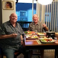 with his brother enjoying fondue