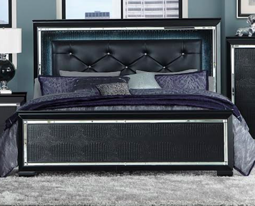 Homelegance Black Allura Collection King Size Bed with LED
