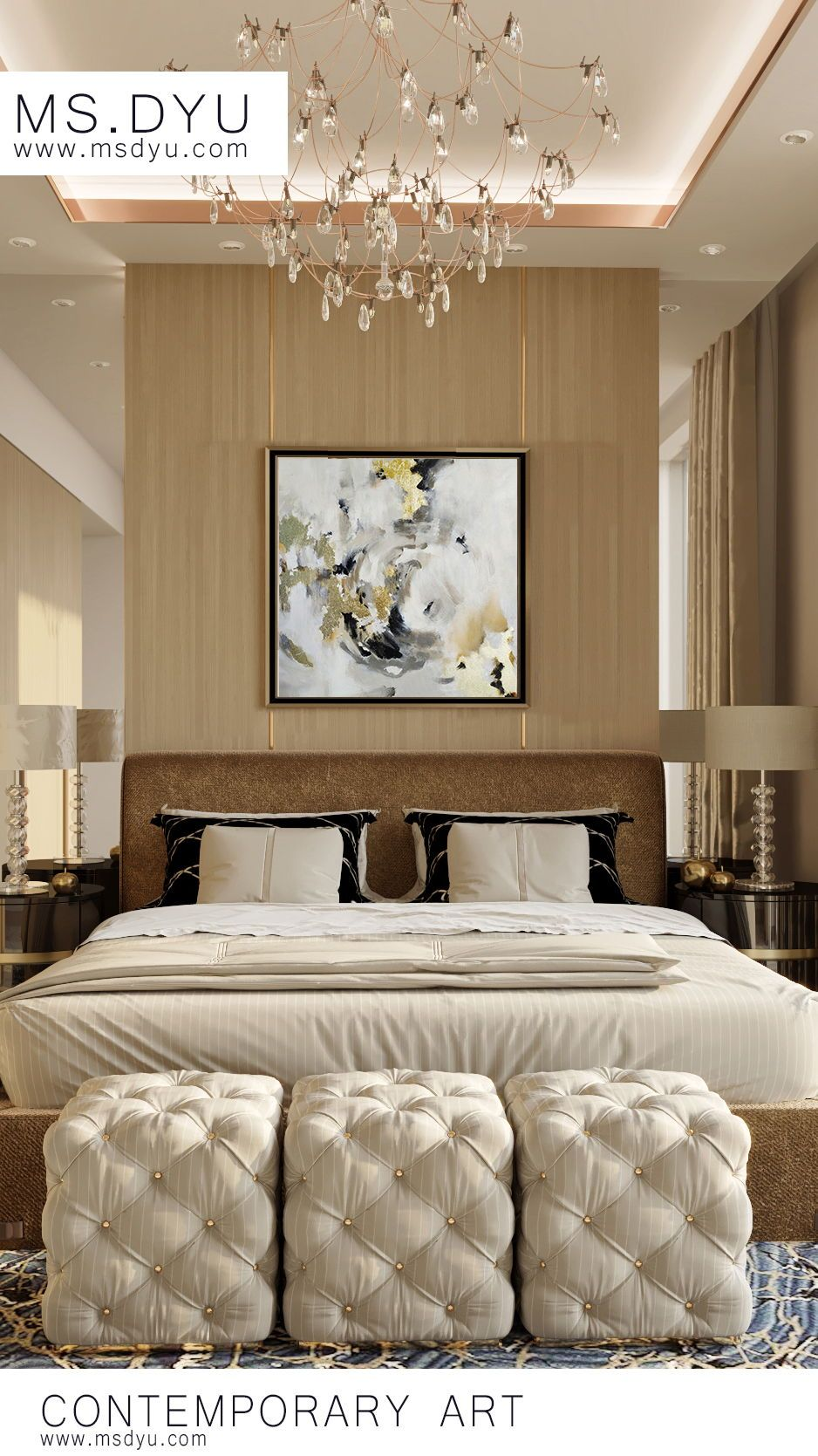 Master Bedroom Decoration With Luxury Oil Painting Hanging Above Bed Master Bedroom Interior Design Luxury House Interior Design Interior Design Luxury master bedroom paint
