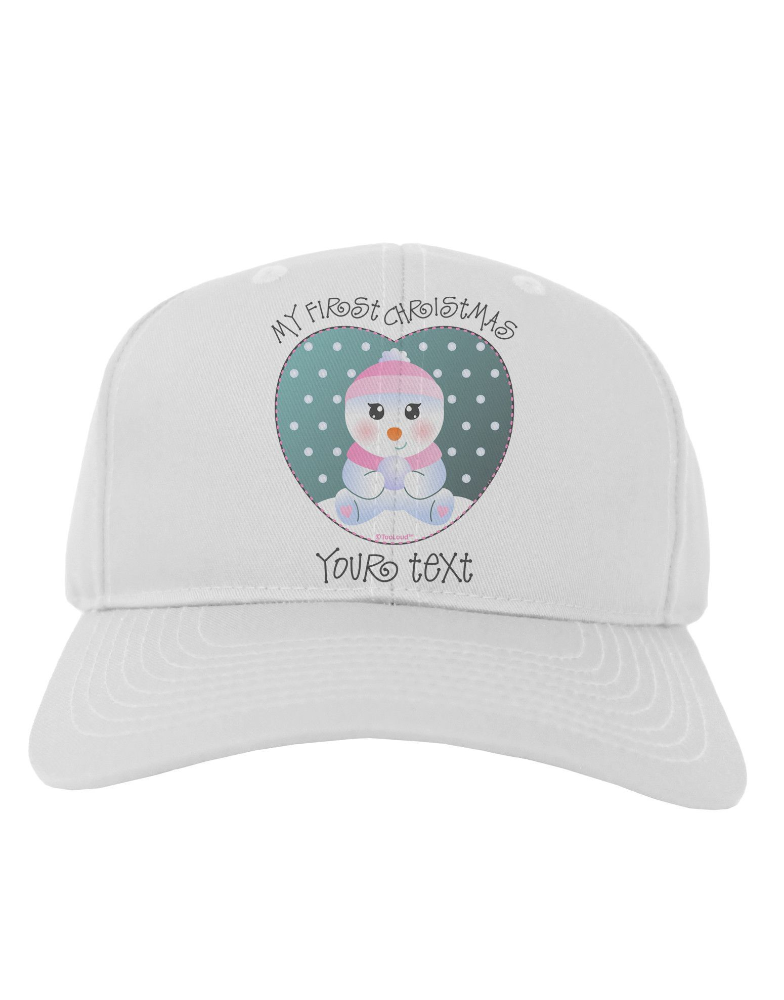 Personalized My First Christmas Snowbaby Girl Adult Baseball Cap Hat