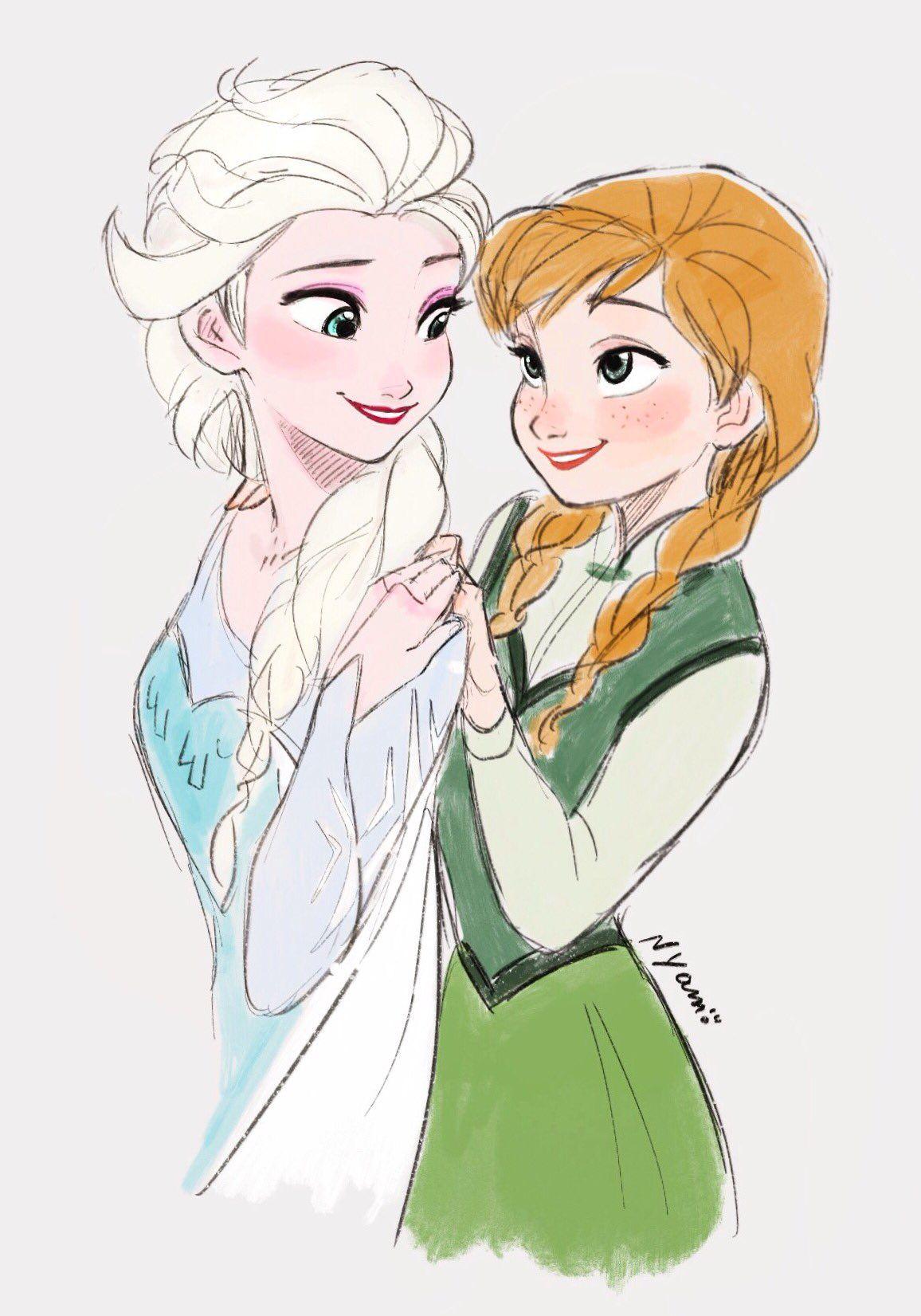 Elsa And Anna Disney Sanati Cizimler Disney Prensesleri