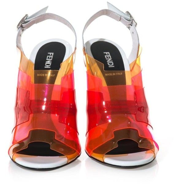 FENDI Iridia ombré PVC sandals (8 505 UAH) ❤ liked on Polyvore featuring shoes, sandals, heels, sling back sandals, polish shoes, sling back shoes, fendi sandals and shiny shoes