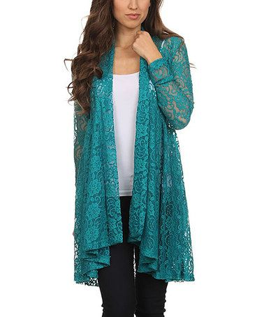 Another great find on #zulily! Teal Floral Lace Drape-Hem Cardigan ...