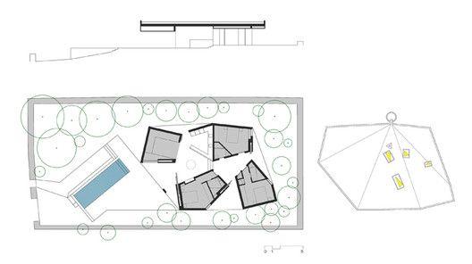 Casa 4 Porches y 4 Lucernarios,Corte + Planta