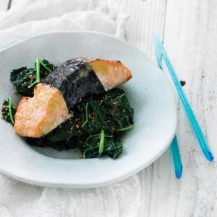 Nori-Wrapped Glazed Salmon with Sesame Kale.  Nori is one of the most nutrient dense foods there is.