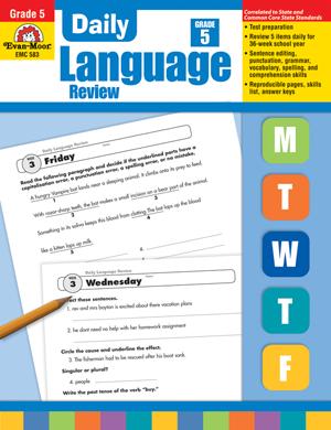 Daily Language Review, Grade 5 - Teacher's Edition: Evan