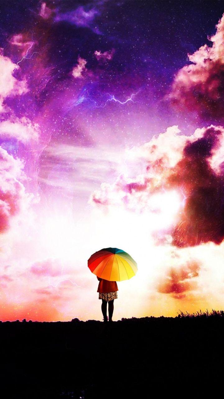 Person Outdoor Umbrella Clouds 7x1280 Wallpaper With Images Cloud Wallpaper Colorful Umbrellas Clouds