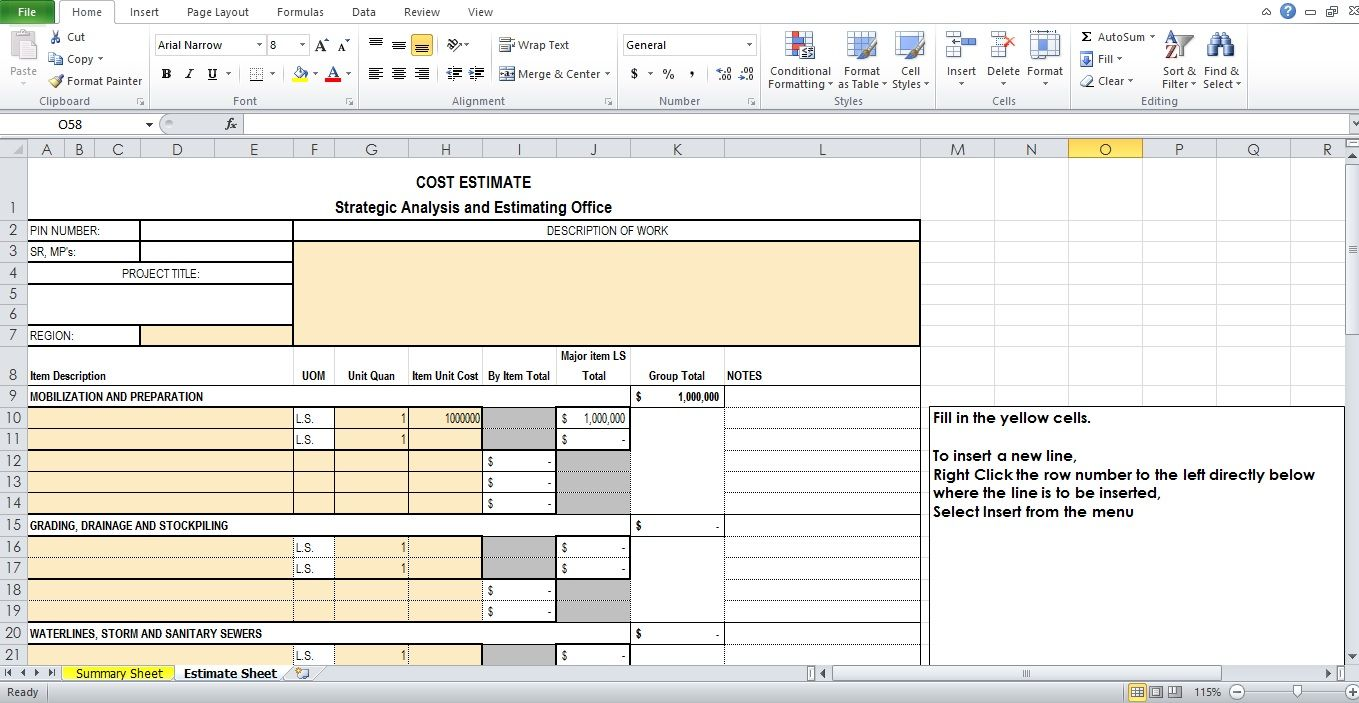 work estimate template excel format