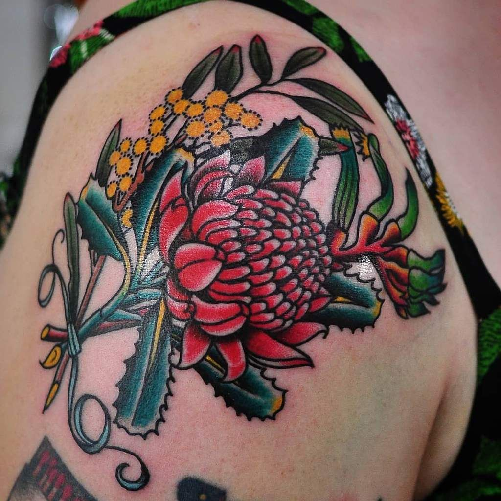 Australian Red Waratah Tattoo Tattoos Leg Tattoos Butterfly With Flowers Tattoo