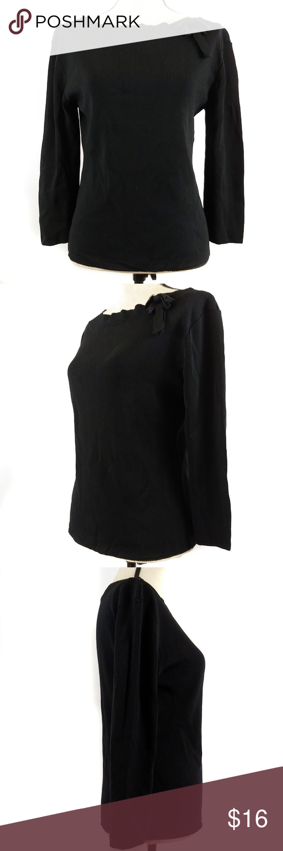 finity top large black 3 4 sleeves bow stretch in 2018 my posh