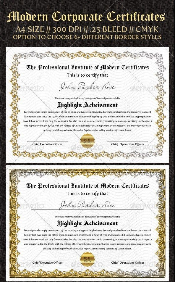 21 Awesome Certificate Templates in PSD MS Word Vector EPS Formats - corporate certificate template