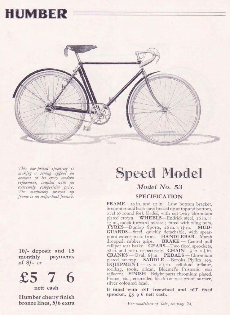 1932 Humber 3 Speed Road Path Racer Antique Vintage Bicycle Worldwide Delivery Bike Poster Bicycle Vintage Bikes