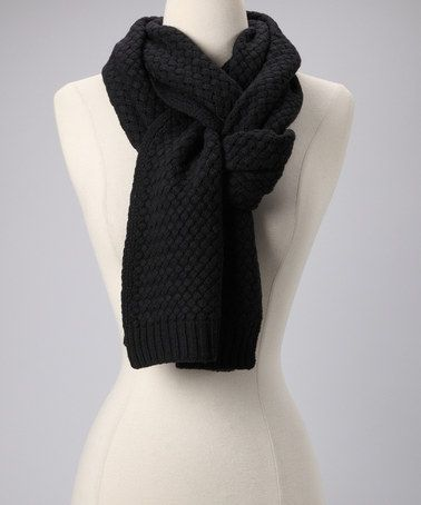 Take a look at this Black Basketweave Wool Scarf by pür cashmere on #zulily today!
