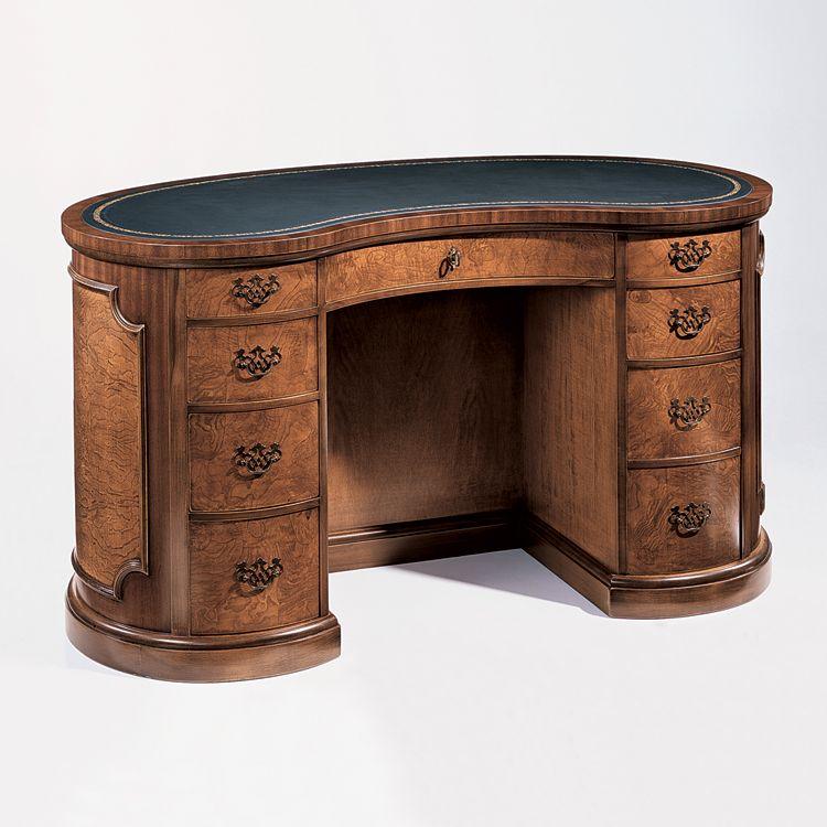 1586 Padria Desk Kidney Shaped Desk English Style Wood Desk