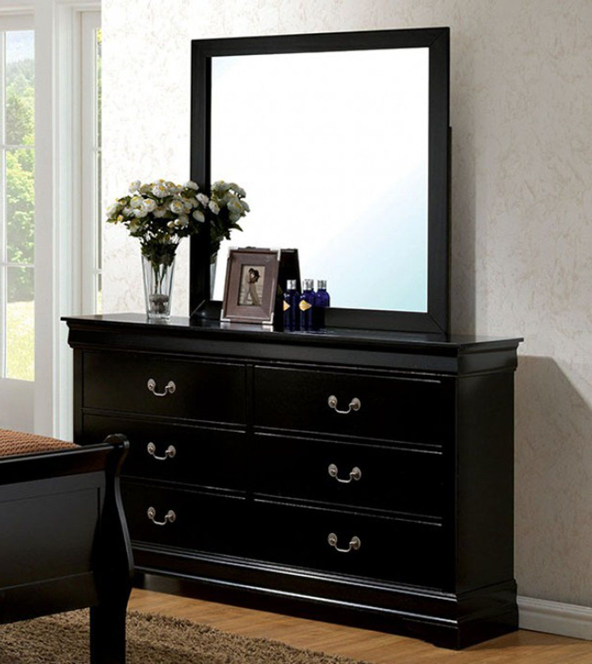 Louis Philippe Iii Cm7866bk D Contemporary Black Dresser Mirror