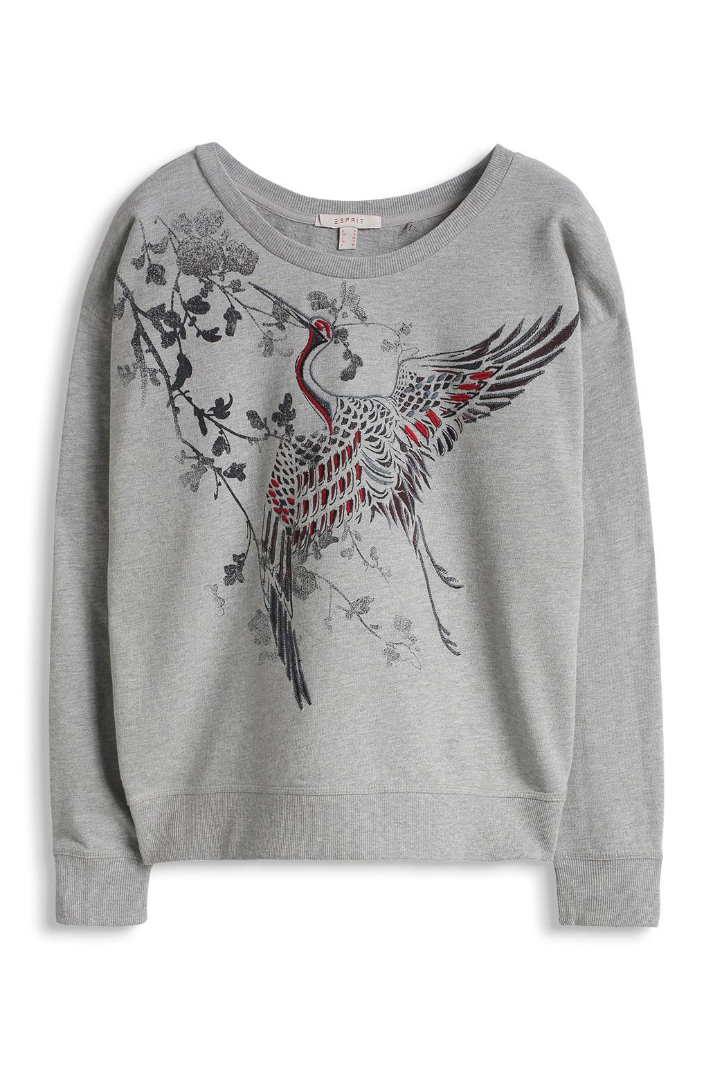 Esprit - Collageshirt with crane. Color metal grey melange.