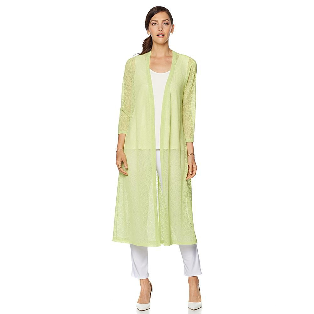 Slinky® Brand Duster Cardigan with Crossover Back Panel - Yellow