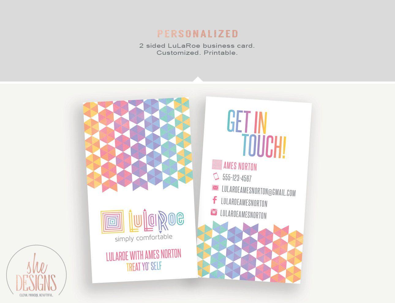 LuLaRoe Business Card Printable Business Card Geometric 2 sided ...