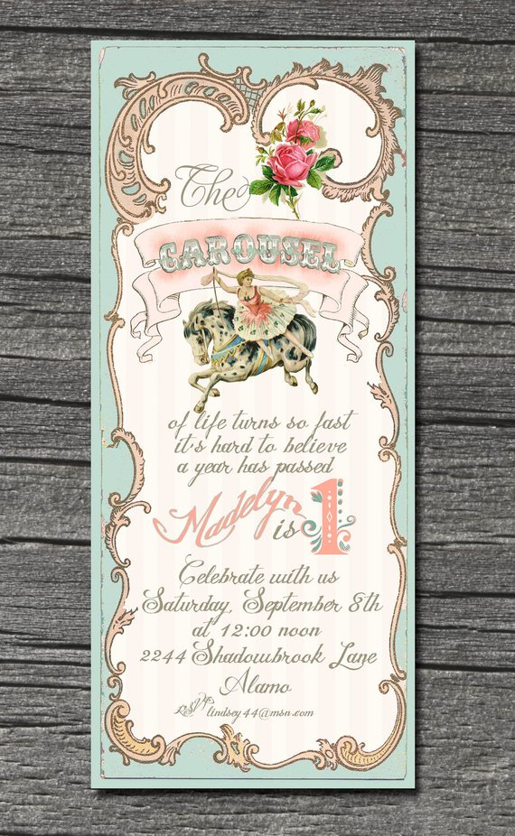 vintage carousel invitations and thank you cards in 2018 products