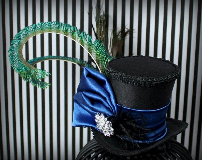 Fascinator Top Hat Wedding Hat Blue Mini Top Hat Women Top Hat Mad Hatter Hat Tea Party Hat Mini Hats Victorian Mini Top Hat