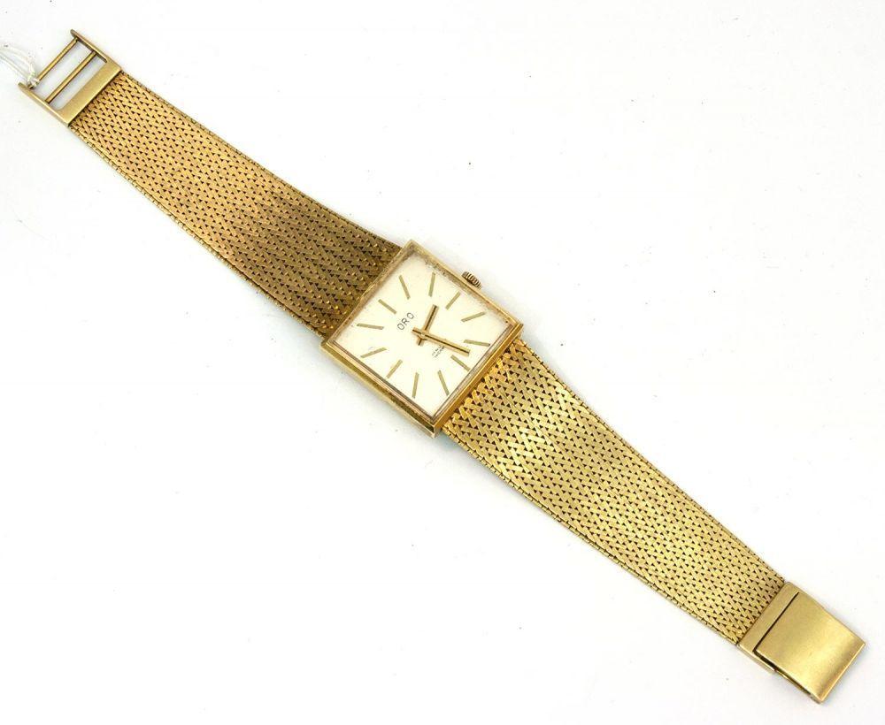 Herrenarmbanduhr 585er GG-Gehäuse, 53,7 g, Fabrikat ORO, mech. Werk, L. 19,5 cm — Uhren