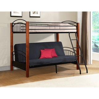 Excellent Metal And Wood Bunk Bed In Cherry Finish Futon Bunk Brown Pabps2019 Chair Design Images Pabps2019Com