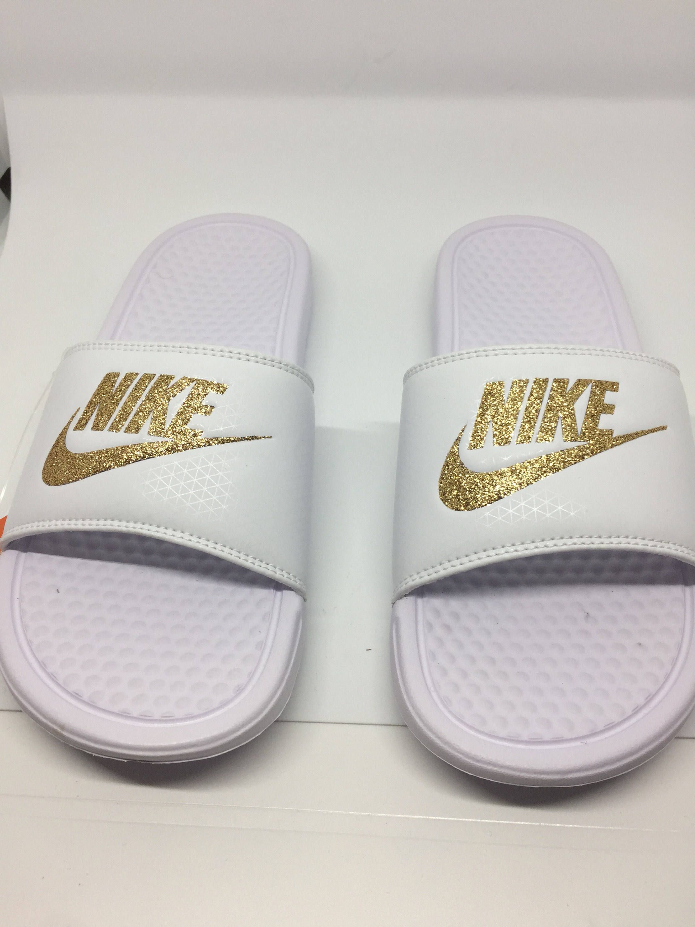 Custom White Nike Slides Sandals with Gold Glitter Sparkling Logo e8e447f32