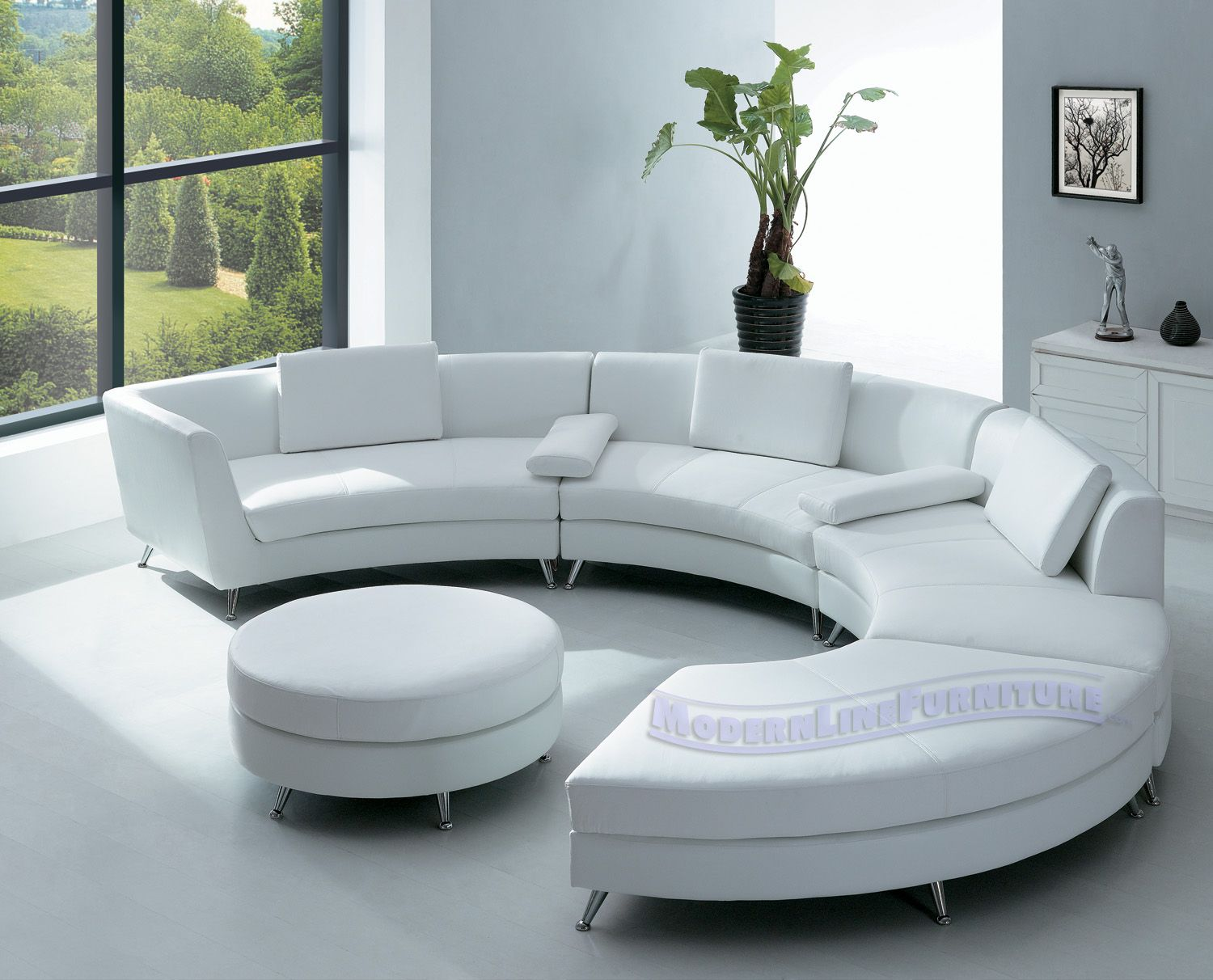 Attrayant Contemporary Furniture Design White Leather Sectional Sofa With Ottoman And  Optional Multifunction Table
