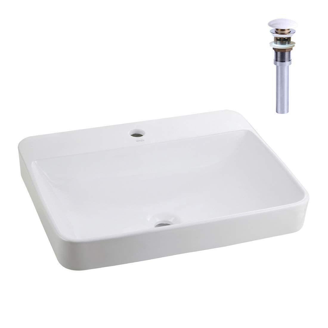 Winzo Wz6123d Drop In Bathroom Vessel Sink With Single Faucet Hole