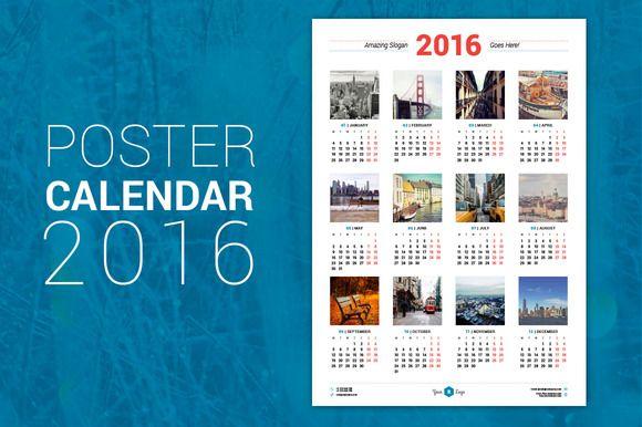 Poster Calendar 2016 by AntartStock on Creative Market Creative - sample indesign calendar
