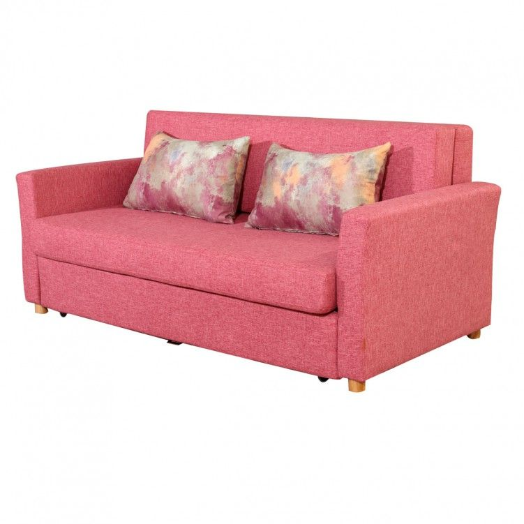 Awe Inspiring Lesso Home Folding Sofa Bed 2 Seater Pink Fabric Machost Co Dining Chair Design Ideas Machostcouk
