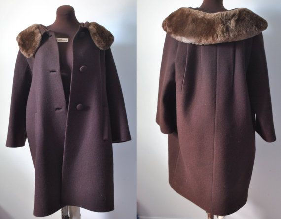 Vintage 1960s 60s sixties fur collared women's by APetiteFlower