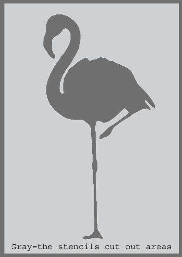 Flexible Stencil *FLAMINGO* Small or Medium Card Making Crafts Tropical Holiday