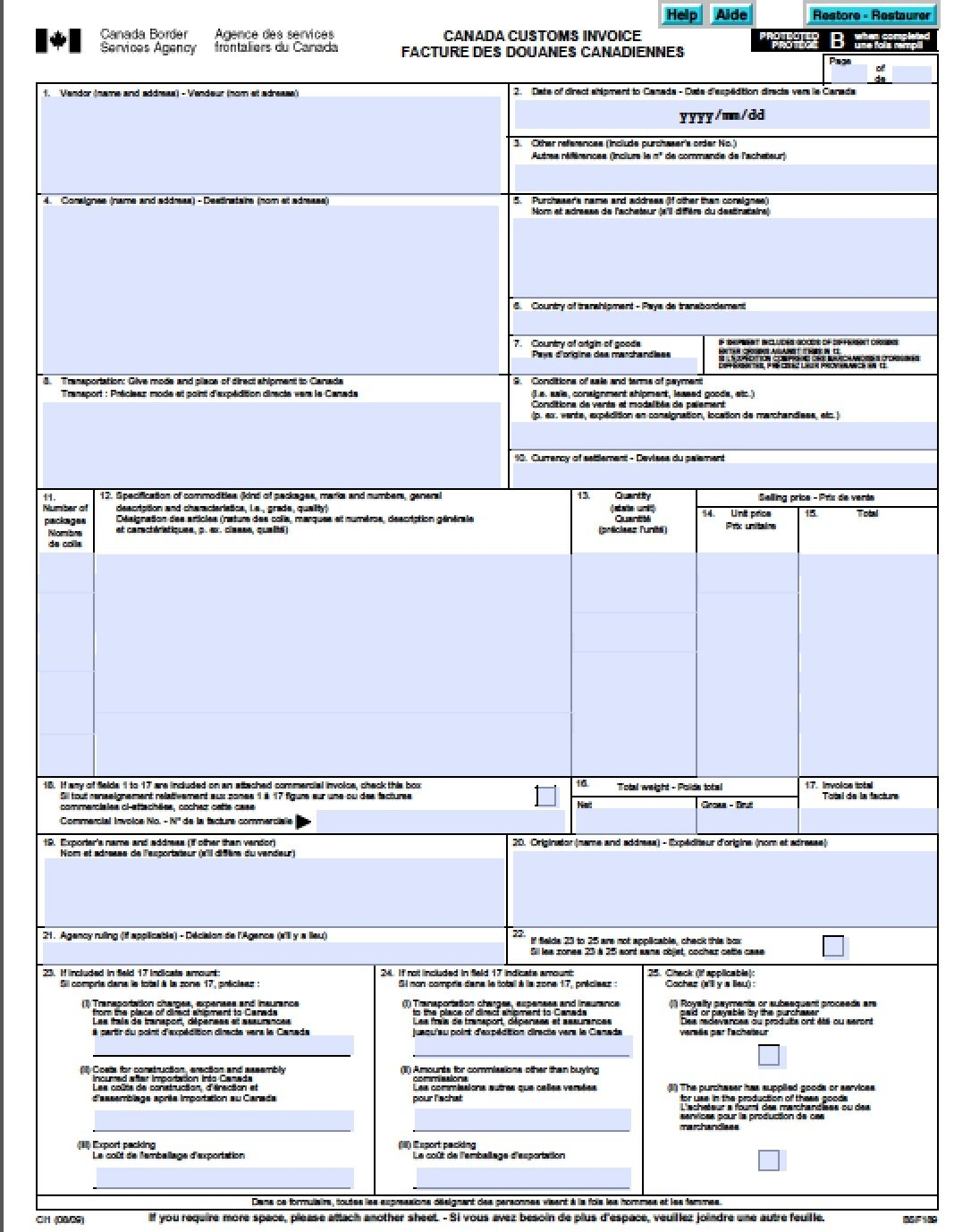 Canada Customs Invoice Free Canada Customs Commercial Invoice Template Form  Ci1 Excel 1086 X 1378  Custom Invoice Maker