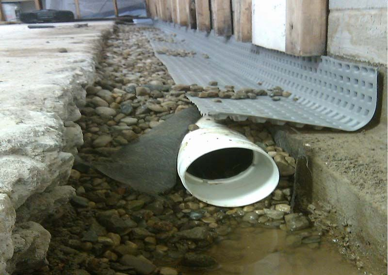 French drain installation pinterest french for Basement curtain drain