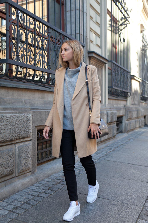 beige coat, grey turtleneck, black jeans and reebok classics