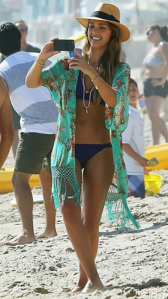 0dbb4c5ca0 Jessica Alba Beach Style Beach Kimono, Dress Beach, Beach Dresses, Kimono  Beach Cover